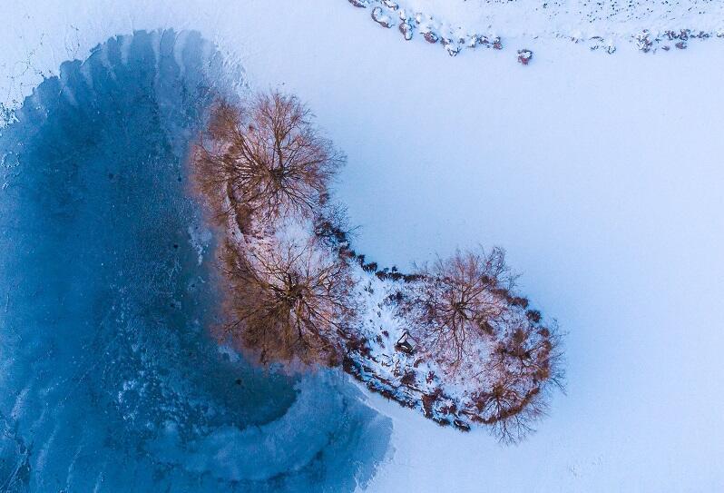 Zimowy Zbiornik Platynowa z lotu ptaka