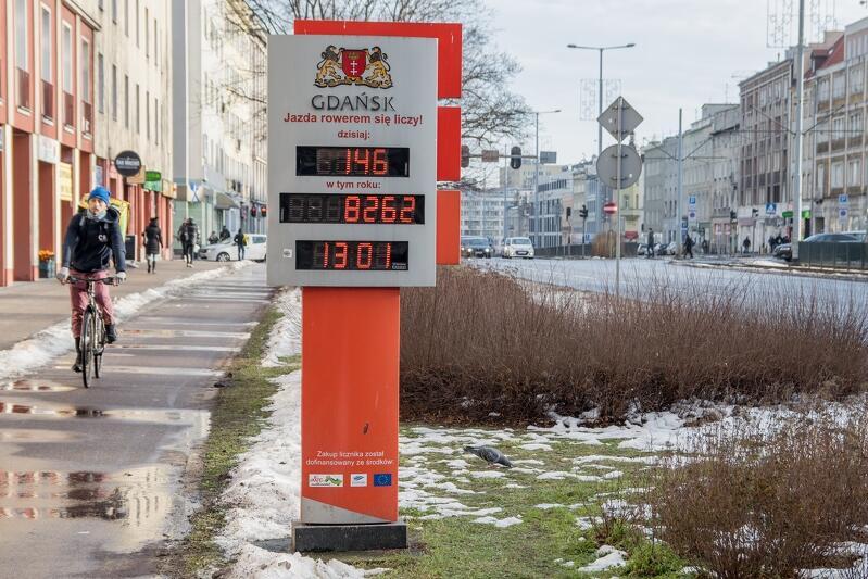Licznik rowerzystów z wyświetlaczem, Gdańsk, ul. 3 Maja/Nowe Ogrody