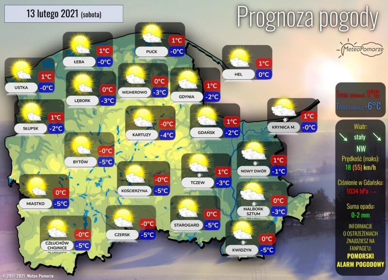 Infografika przygotowana przez Meteo Pomorze z prognozą pogody dla całego województwa pomorskiego