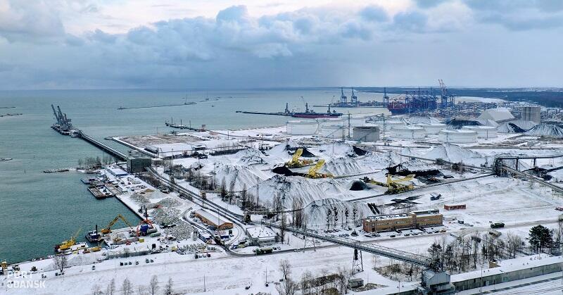Port Północny zimą