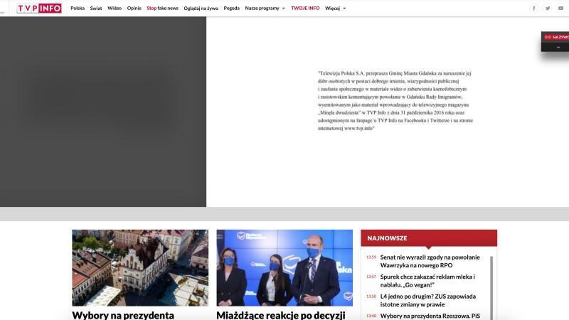 Widok ogólny strony internetowej TVP Info w czwartek, 18 lutego, tuż po godz. 14