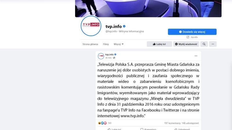 Przeprosiny, które jak meteor przeleciały przez profil FB TVP Info
