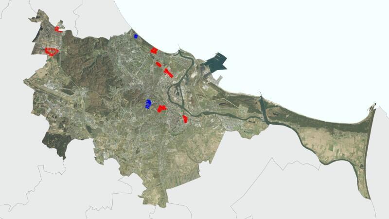 Mapa Gdańska z zaznaczonymi punktami, których dotyczą nowo uchwalone miejscowe plany zagospodarowania przestrzennego
