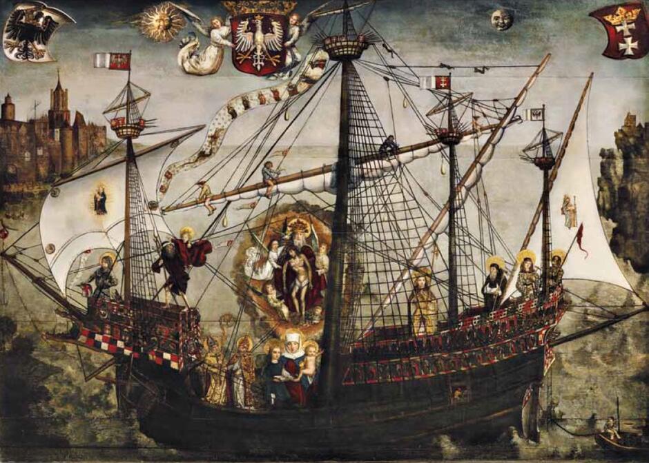 """Obraz """"Okręt Kościoła"""", symulakra Krzysztofa Izdebskiego; w górnym lewym rogu widoczna tajemnicza zabudowa"""