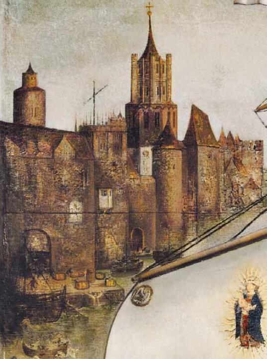 Ukazana na obrazie zabudowa nie jest realistyczną panoramą ani motławskiego portu, ani części nadwodnej zamku; aby podjąć próby identyfikacji warto zwrócić uwagę na: dwie wieże, dźwig budowlany nad korpusem kościoła i fragmenty bram