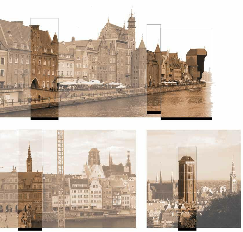 Współczesne zdjęcia użyte do rekonstrukcji widoku miasta widocznego na obrazie, z pokazaniem wykorzystanych kadrów. A – zdjęcie z Mostu Zielonego. B – zdjęcie z koła widokowego, z wysokości górnej linii dachów kamieniczek. C – zdjęcie z Góry Gradowej, z przeciwnej strony niż motławski port, ukazujące za to wieżę mariacką w pełnej okazałości