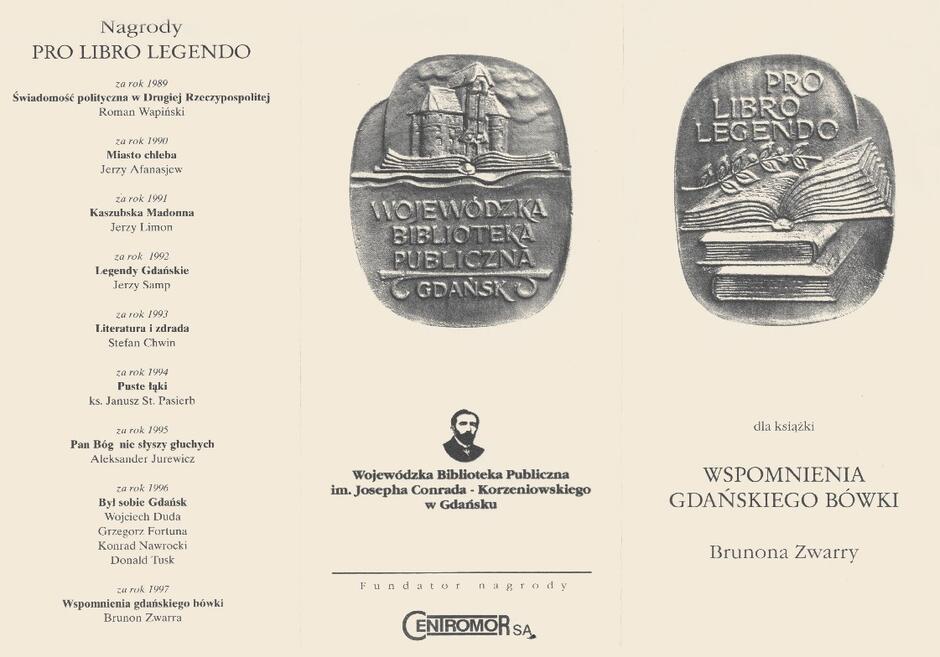 """Jedna ze stron zaproszenia na uroczystość poświęconą """"Wspomnieniom gdańskiego bówki"""" z okazji wyróżnienia tej książki nagrodą """"Pro libro legendo"""""""