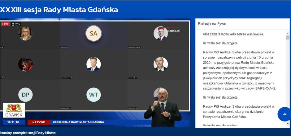 Od kilku miesięcy radni miejscy obradują w systemie zdalnym. Transmisje z sesji można oglądac na żywo na naszym portalu www.gdansk.pl