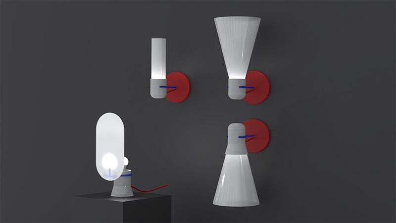 Blue Light Revision, czyli lampy wykonane z folii i pleksi odzyskanych z ekranów zepsutych telewizorów LCD, autorstwa poznańskiego duetu projektantów Barbary Stelmachowskiej i Mateusza Ligockiego