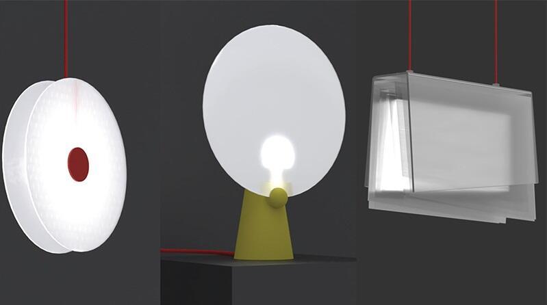 Lampy z kolekcji Blue Light Revision zaprojektowanej przez zwycięzców I edycji konkursu Up-Cykle Zakładu Utylizacyjnego w Gdańsku