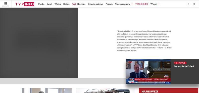 Treść przeprosin na portalu internetowym TVP Info w sobotę, 6 marca 2021 roku