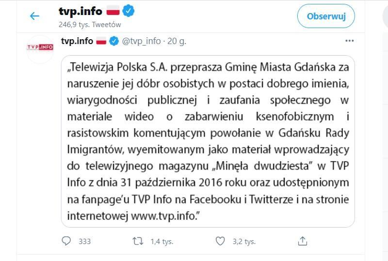 Przeprosiny na Twitterze TVP Info