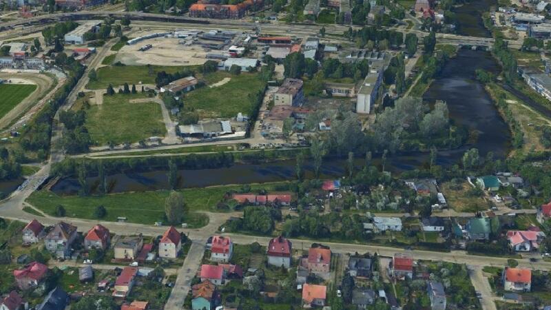 Opływ Motławy - widok od strony Olszynki, u góry ul. Elbląska