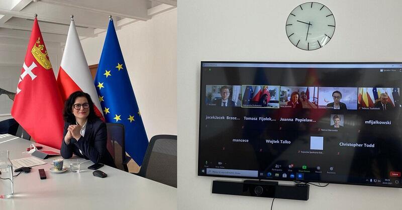 Spotkanie polskich samorządowców z Verą Jourovą, komisarz ds. sprawiedliwości, spraw konsumenckich i równości płci oraz wiceprzewodniczącą Komisji Europejskiej oraz Elisą Ferreirą, komisarz ds. spójności i reform odbyło się 23 marca 2021