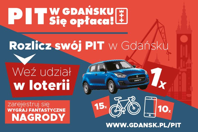 Każdy podatnik, którzy rozliczył swój PIT w Gdańsku i zarejestrował się w loterii ma szansę wygrać jedną z cennych nagród. Zgłoszenia będą przyjmowane między 29 marca a 3 maja
