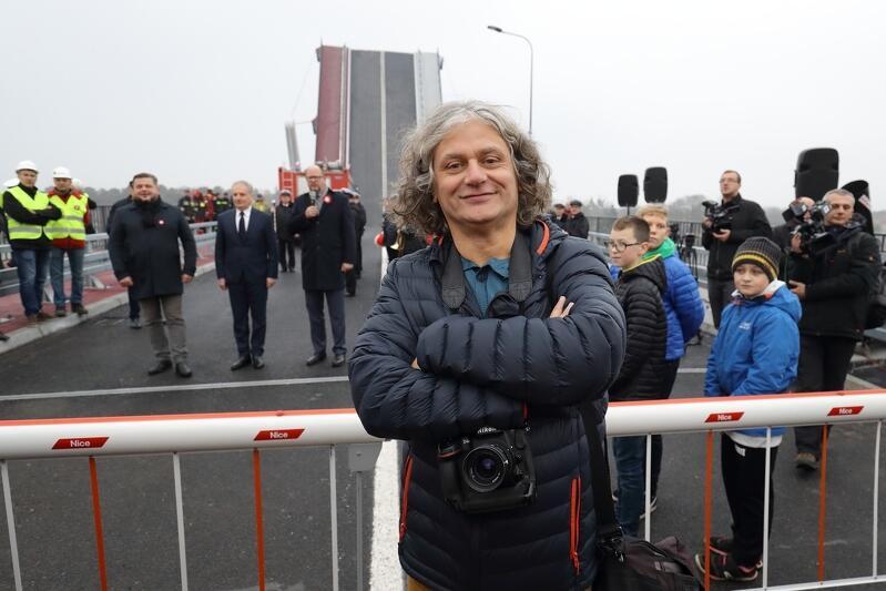 Gdańsk Sobieszewo 2018 r. Maciej Kosycarz podczas uroczystości otwarcie Mostu 100-Lecia Odzyskania Niepodległości.