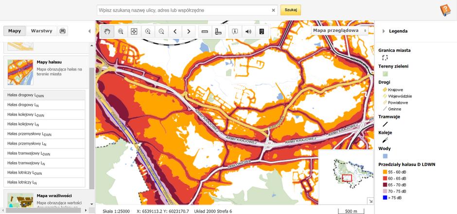 na grafice widać fragment mapy Gdańska z zaznaczonymi różnymi kolorami poziomu hałasu w danych miejscach