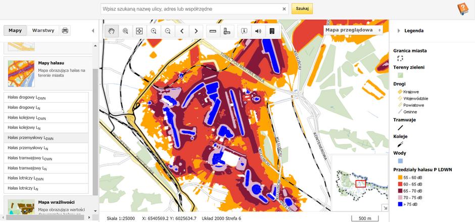 Na mapie akustycznej Gdańska można też sprawdzić, gdzie przemysł wytwarza najwięcej decybeli. Kolor niebieski oznacza, że hałas przekracza 75 dB