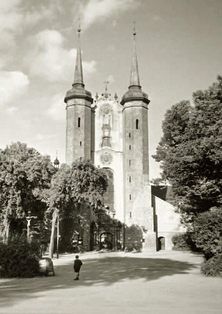 Przedwojenny widok Katedry Oliwskiej; na placu było więcej zieleni niż dzisiaj, dzisiaj nie ma też krzyża, który stał w cieniu drzew