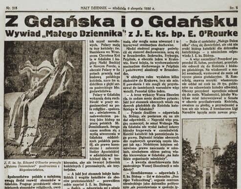 """Wywiad z gdańskim biskupem w """"Małym Dzienniku"""" z 9 sierpnia 1936"""