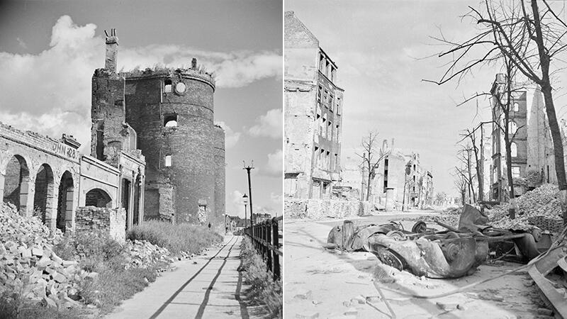 Gdańsk bardzo ucierpiał w czasie działań wojennych w marcu 1945 roku, a potem jeszcze część domów została spalona przez maruderów i rabusiów. Po lewej widoczne są mury wypalonego Żurawia Gdańskiego