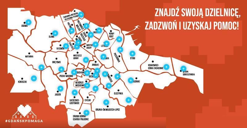 Na stronie gdanskpomaga.pl znajdziemy mapę, która wskazuje dokładne lokalizacje punktów pomocowych w każdej z dzielnic. Aby wyświetlił się adres, należy wskazać kursorem odpowiednią lokazację
