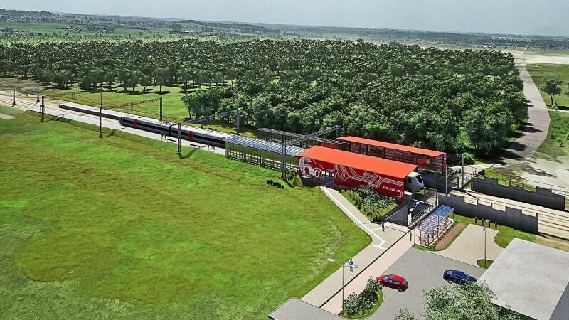 Wizualizacja nowego, dodatkowego przystanku PKM Gdańsk Firoga, jaki - przy okazji elektryfikacji - powstanie pomiędzy przystankami Gdańsk Matarnia i Gdańsk Port Lotniczy