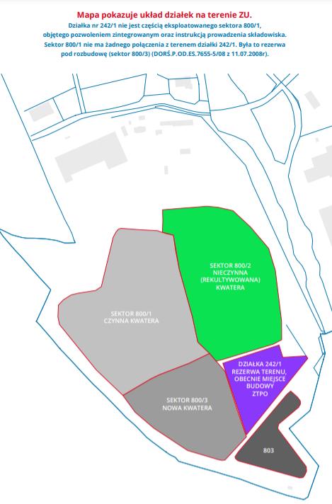 Mapka przedstawia podział terenu wysypiska śmieci na kwatery