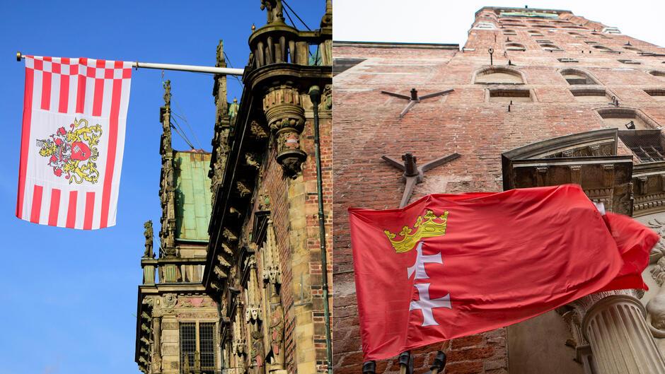 Od lewej: flagi Bremy i Gdańska na ratuszach obu miast