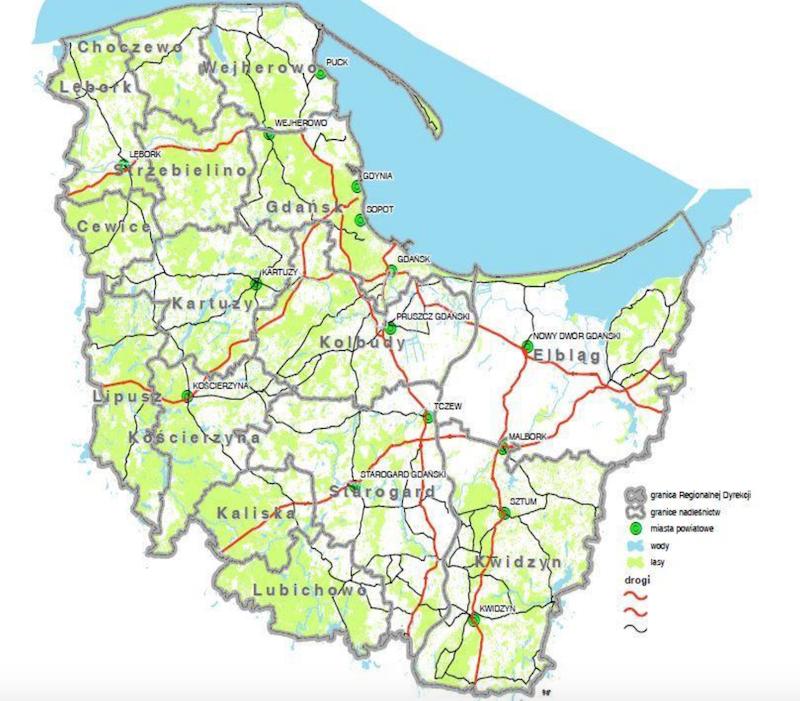 Mapa zasięgu Regionalnych Lasów Państwowych w Gdańsku