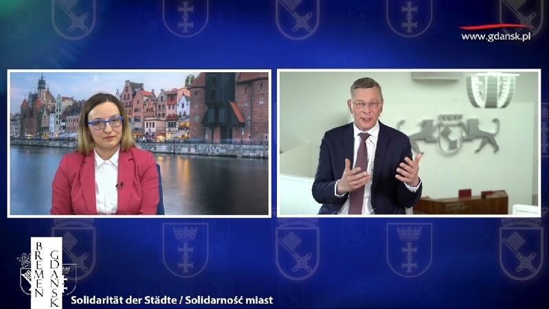 Agnieszka Owczarczak, przewodnicząca Rady Miasta Gdańska i Frank Imhoff, przewodniczący Parlamentu Bremy