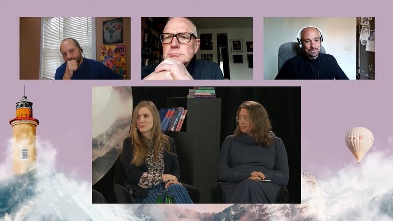 Dorota Masłowska i jej tłumacze podczas spotkania online. U góry od lewej: Benjamin Paloff (język angielski), Olaf Kühl (język niemiecki) i PauFreixa Terradas (język hiszpański). Na dole razem w studio Dorota Masłowska i Irina Lappo (język rosyjski)
