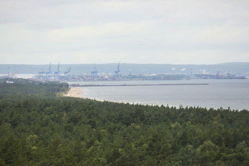 Wyspa Sobieszewska. Widok na Terminal DCT ze zbiornika wody Kazimierz