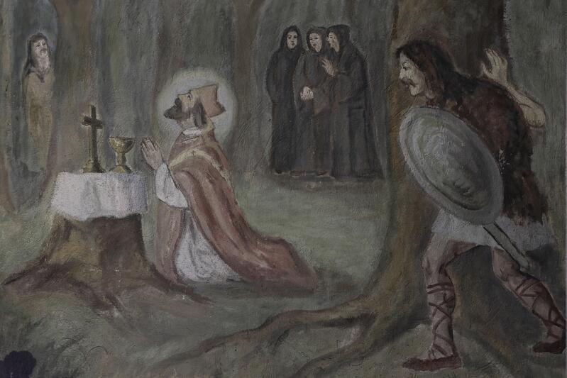 Święty Wojciech odprawia mszę na polanie leśnej. Zza drzew obserwują go Prusowie