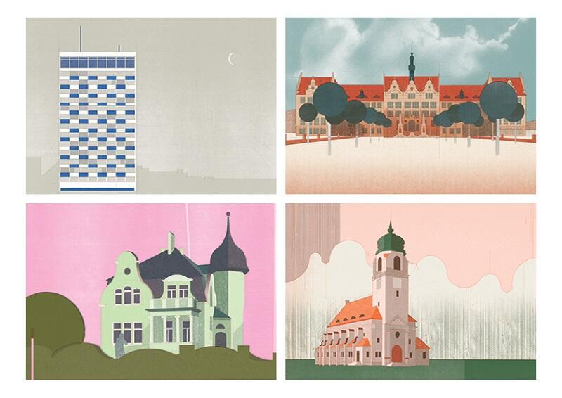 Takie ilustracje znajdziemy w Architektonicznym Przewodniku po Wrzeszczu, od lewej od góry: Dolarowiec, gmach główny Politechniki Gdańskiej, Willa Kirsch, Kościół pw. św. Andrzeja Boboli