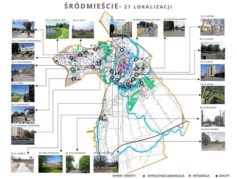 Mapa miasta z zaznaczonymi kółeczkami miejscami. U góry napis: ŚRÓDMIEŚCIE - 21 LOKALIZACJI. Po bokach 21 zdjęć przedstawiających poszczególne miejsca.