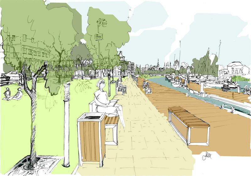 Szkic koncepcyjny możliwości zagospodarowania przestrzeni lokalnej w rejonie przystani i kanału Na Stępce