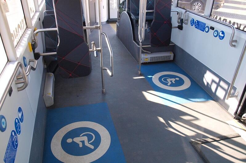 Wnętrze autobusu elektrycznego Yutong E12