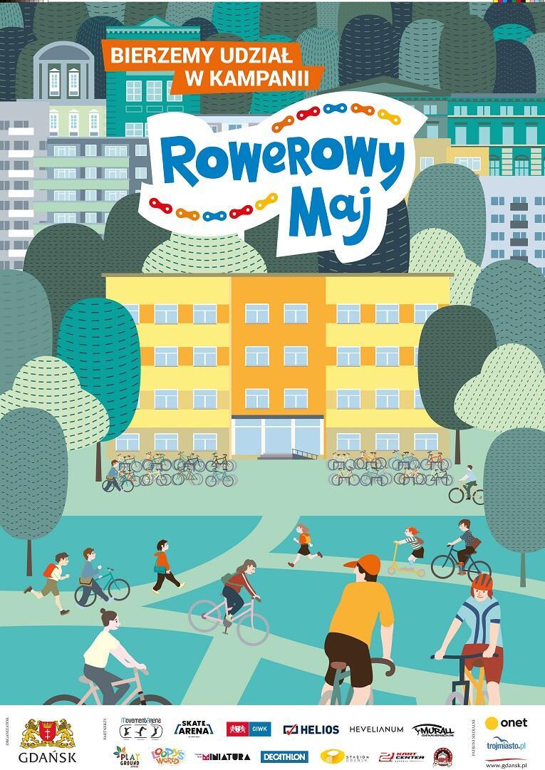 Rowerowy Maj 2021 plakat szkolny