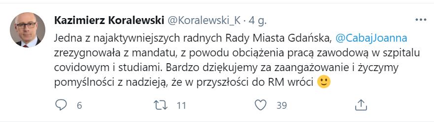 Kazimierz Koralewski poinformował o decyzji Joanny Cabaj za pomocą Twittera