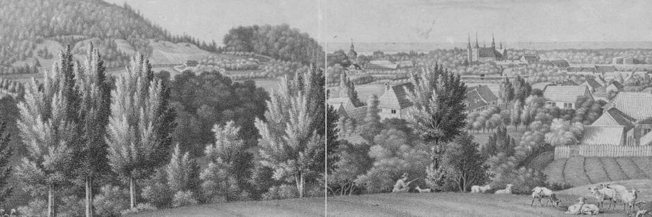 W sierpniu 1768 roku biskup Krasicki zatrzymał się u opata Rybińskiego w pałacu w Oliwie; rycina J. Lacroix
