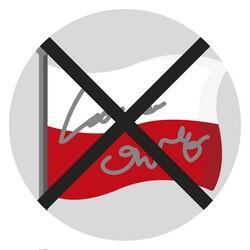 Grafika w kształcie koła: na szarym tle biało-czerwona flaga z napisami. Grafika przekreślona czarnym krzyżykiem