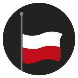 Grafika w kształcie koła: na czarnym tle powiewająca biało-czerwona flaga zsunięta do połowy masztu