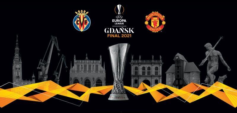 Prostokątna, szeroka i płaska ilustracja w czarnej i szarej tonacji kolorystycznej, z przewijającą się żółtą szarfą na całej szerokości, w dolnej części kompozycji. Centralnie stoi srebrny puchar Ligi Europy UEFA. Nad pucharem - napis: Europa League Gdansk Final 2021. Po lewej stronie napisu jest herb klubu Villarreal, po prawej - Manchesteru United. Na lewo od pucharu widać kolejno wizerunki: Dworu Artusa, dźwigów stoczniowych i Ratusza Głównomiejskiego w Gdańsku. Na prawo od pucharu są widoczne kolejno: Złota Brama, Żuraw, Fontanna Neptuna
