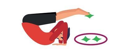 Rysunek: człowiek leży na plecach, głowa na ziemi, nogi ma nad głową. Dłonie przy głowie, między stopami trzyma zielony woreczek. Za głową okrąg a w nim dwa zielone woreczki