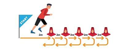 Rysunek: po lewej napis START, przed nim biegnący człowiek w prawo, przed człowiekiem ustawionych kolejno pięć pachołków - między nimi napis: 2 m. Pod nimi 5 krótkich żółtych strzałek biegnących w prawo, między nimi żółte strzałki skręcające w dół i w lewo.