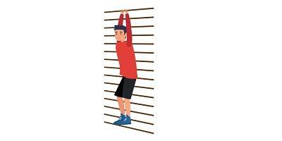 Rysunek: drabinka gimnastyczna, na niej zwisający człowiek (trzyma się górnego drążka)