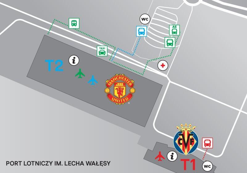 Mapka przedstawiająca teren Portu Lotniczego w Gdańsku. Herbami klubów oznaczono miejsca, gdzie będą wysiadać kibice, którzy przylecą samolotami czarterowymi. Przy Terminalu 1 będą to fani Villarrealu CF, przy Terminalu 2 - Manchesteru United