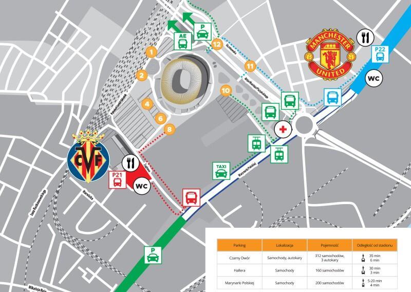 W rejonie stadionu Miasto przygotowało specjalne miejsca parkingowe i oddzielne strefy, gdzie z autobusów wysiadać będą kibice obu drużyn