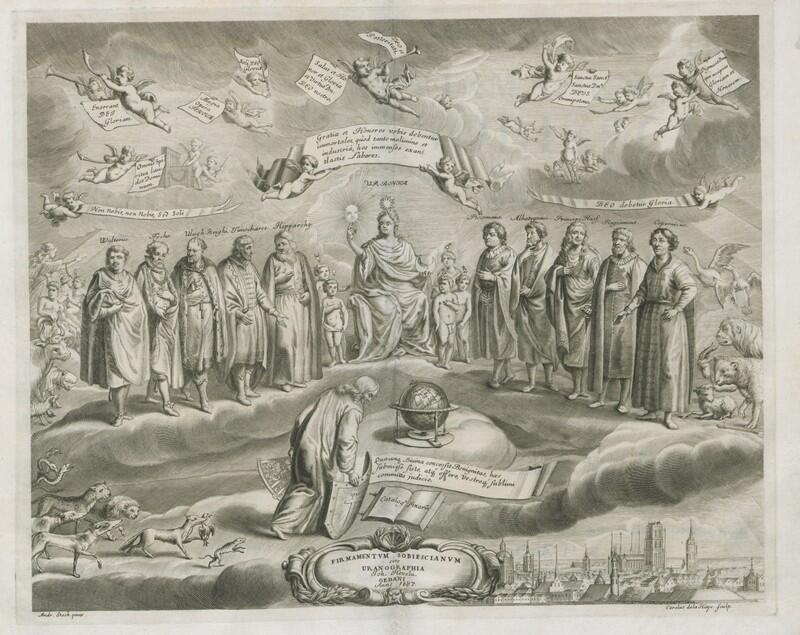 Frontyspis firmamentum Sobiescianum: astronom składa pokłon swoim wielkim poprzednikom